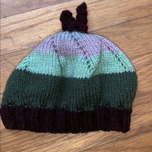 Accessories - Purple and green hand knit wool hat